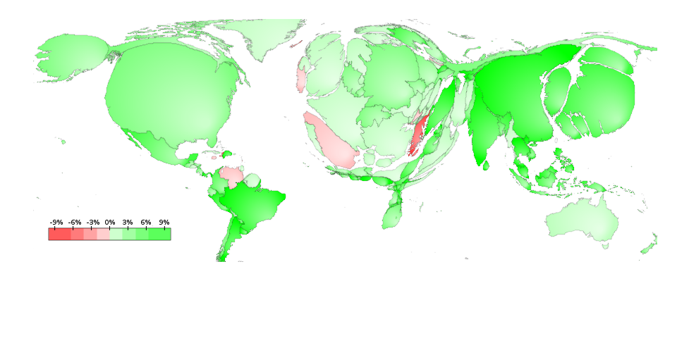 Deformed world map of GDP and GDP growth